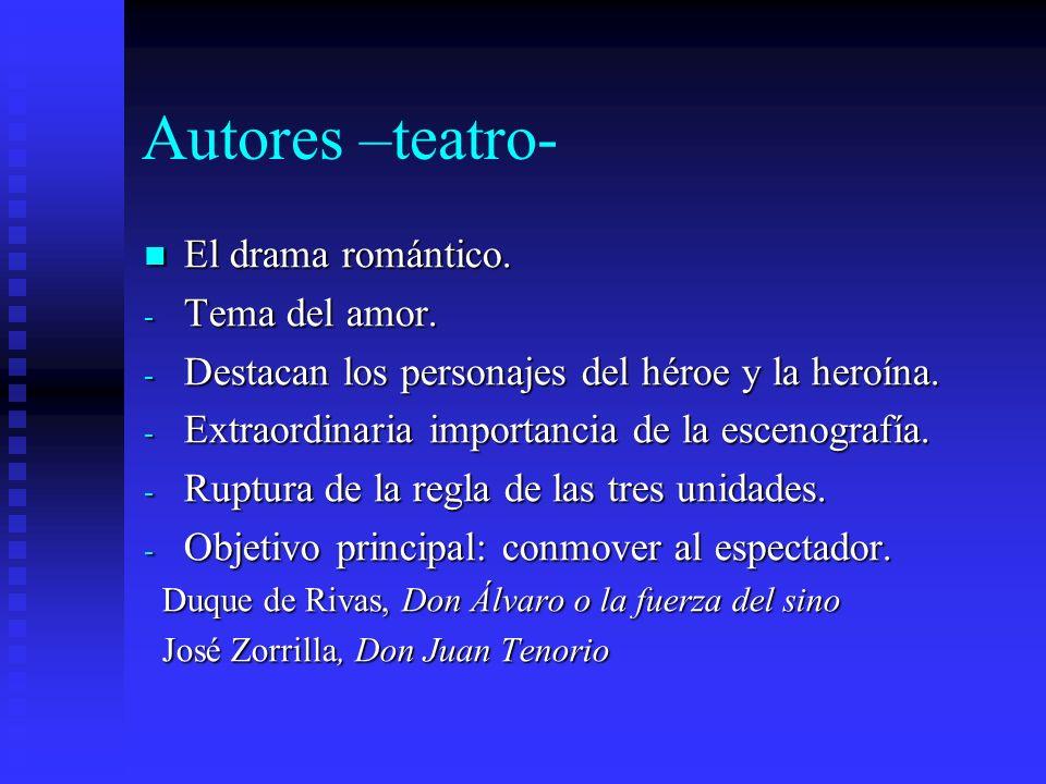 Autores –teatro- El drama romántico. El drama romántico. - Tema del amor. - Destacan los personajes del héroe y la heroína. - Extraordinaria importanc