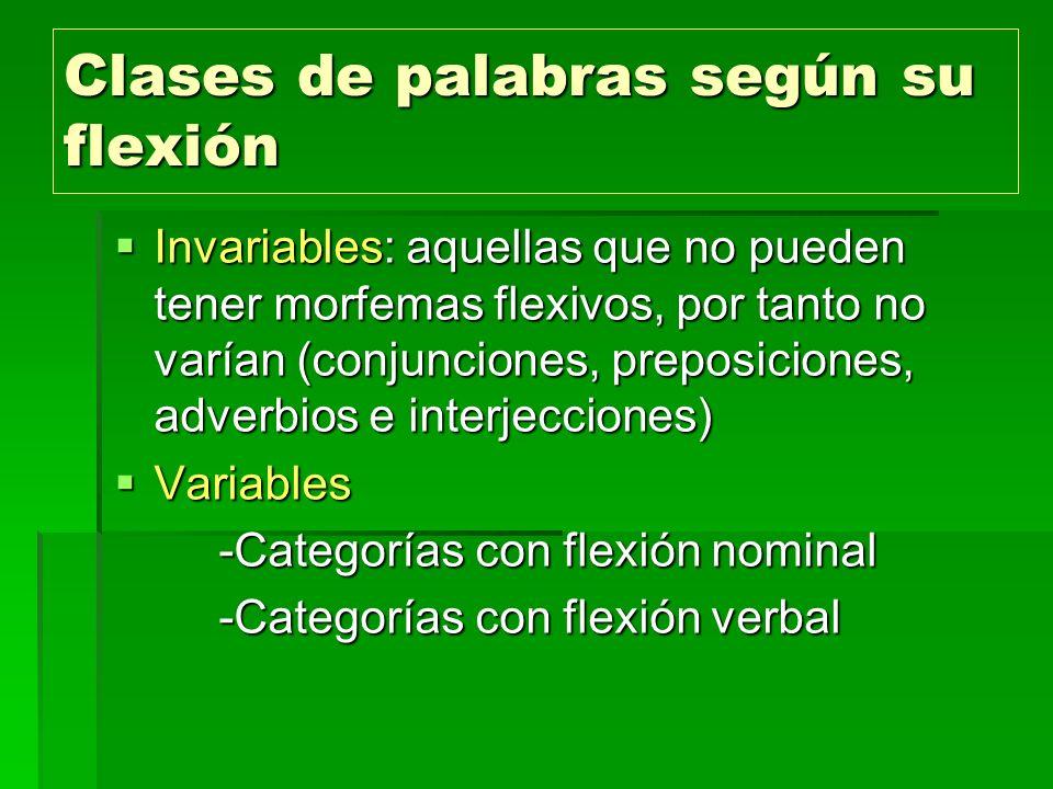 Clases de palabras según su flexión Invariables: aquellas que no pueden tener morfemas flexivos, por tanto no varían (conjunciones, preposiciones, adv