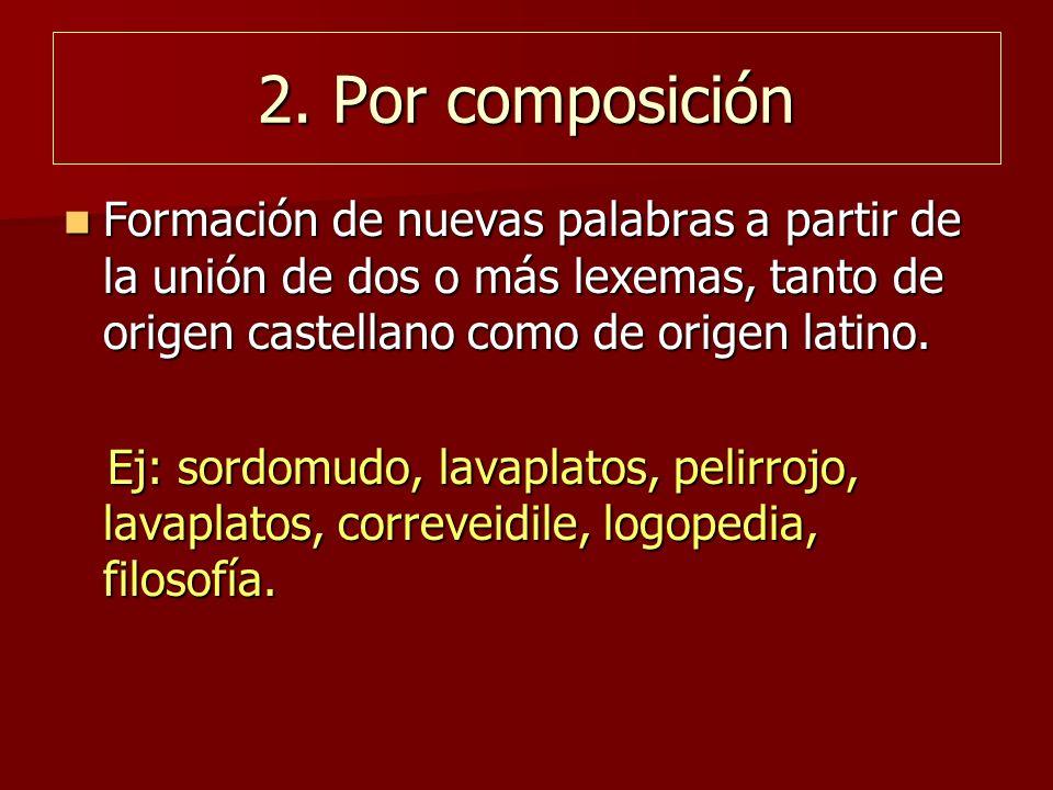 2. Por composición Formación de nuevas palabras a partir de la unión de dos o más lexemas, tanto de origen castellano como de origen latino. Formación