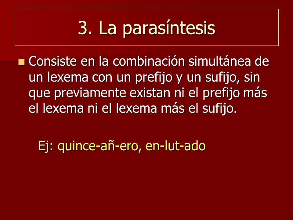 3. La parasíntesis Consiste en la combinación simultánea de un lexema con un prefijo y un sufijo, sin que previamente existan ni el prefijo más el lex