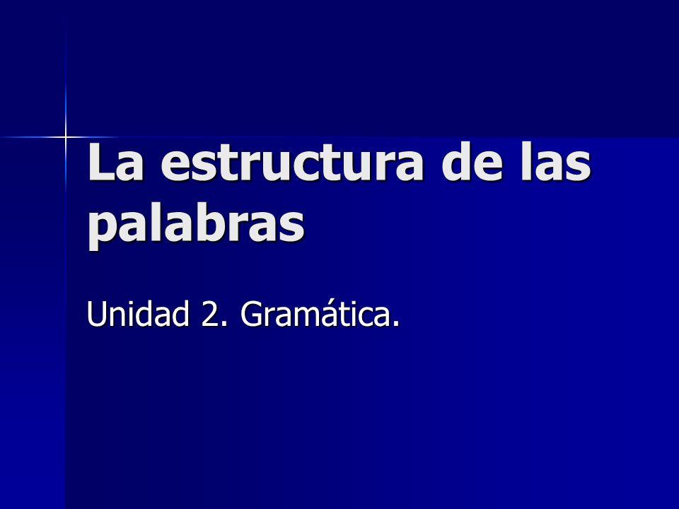 La estructura de las palabras Unidad 2. Gramática.