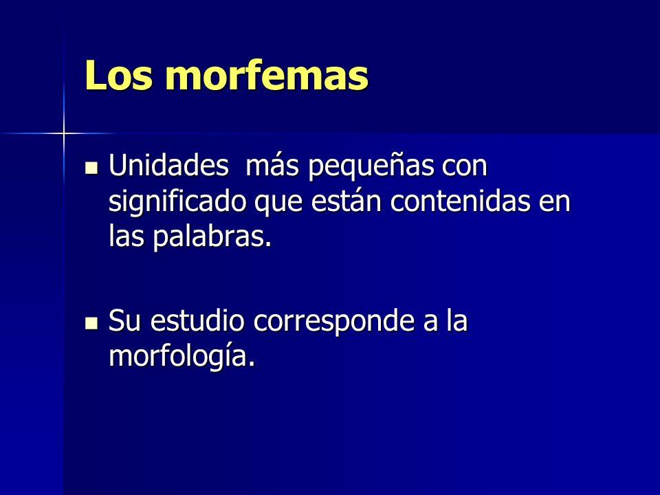 Clases de morfemas 1.Morfemas léxicos o lexemas Tienen significado pleno.