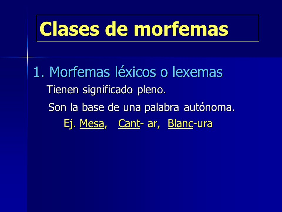 Clases de morfemas 1. Morfemas léxicos o lexemas Tienen significado pleno. Tienen significado pleno. Son la base de una palabra autónoma. Son la base