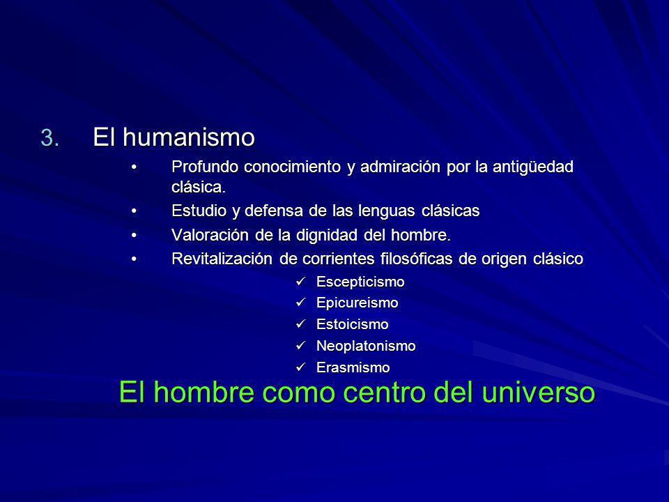 3. El humanismo Profundo conocimiento y admiración por la antigüedad clásica.Profundo conocimiento y admiración por la antigüedad clásica. Estudio y d