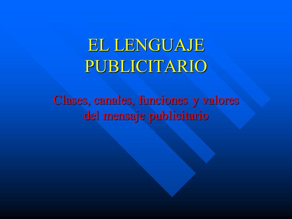 EL LENGUAJE PUBLICITARIO Clases, canales, funciones y valores del mensaje publicitario