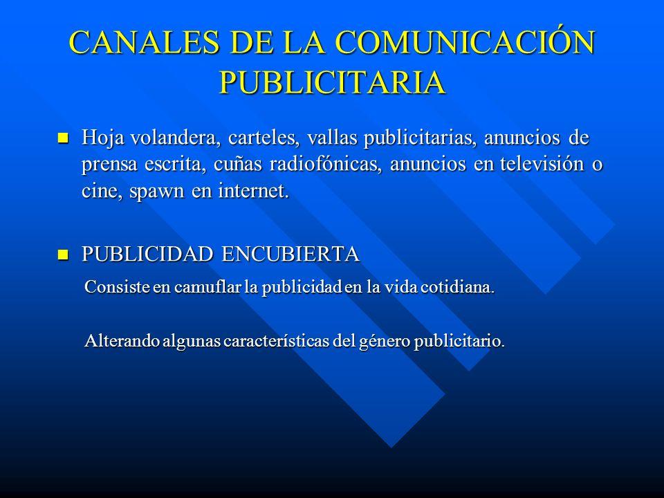 CANALES DE LA COMUNICACIÓN PUBLICITARIA Hoja volandera, carteles, vallas publicitarias, anuncios de prensa escrita, cuñas radiofónicas, anuncios en te