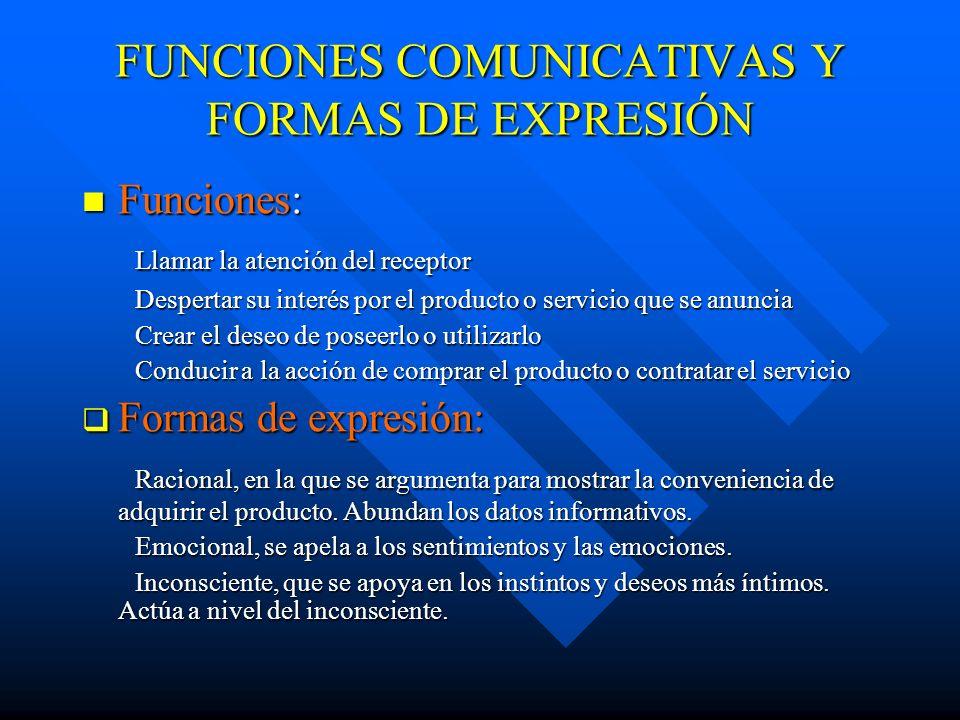 FUNCIONES COMUNICATIVAS Y FORMAS DE EXPRESIÓN Funciones: Funciones: Llamar la atención del receptor Llamar la atención del receptor Despertar su inter