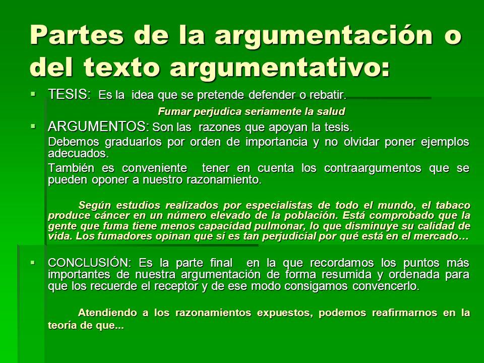 Partes de la argumentación o del texto argumentativo: TESIS: Es la idea que se pretende defender o rebatir. TESIS: Es la idea que se pretende defender