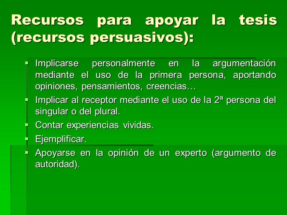 Recursos para apoyar la tesis (recursos persuasivos): Implicarse personalmente en la argumentación mediante el uso de la primera persona, aportando op