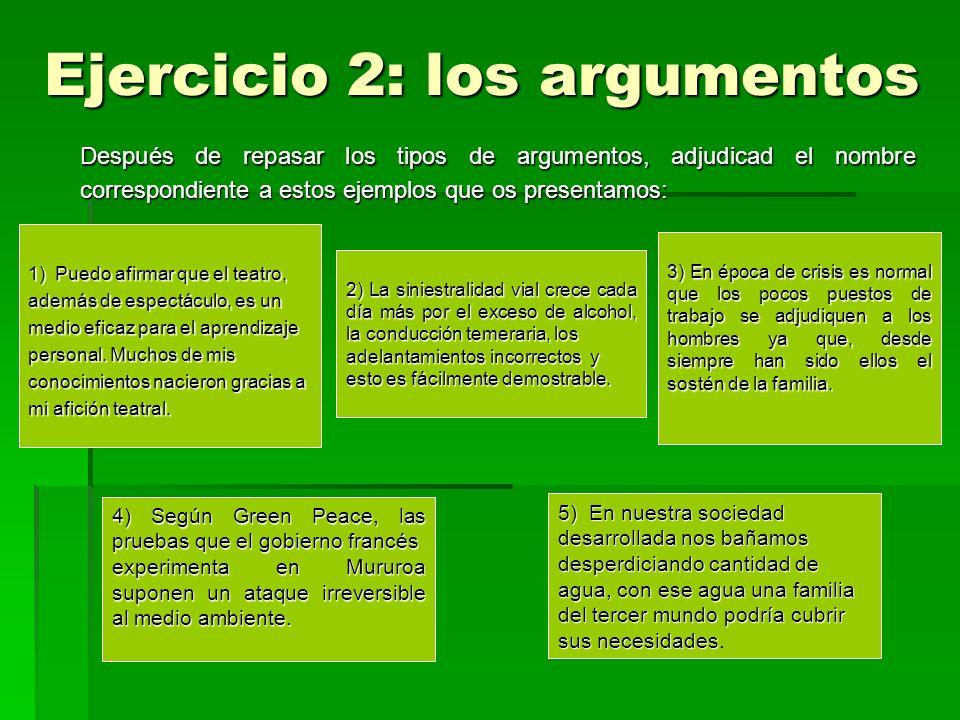 Ejercicio 2: los argumentos Después de repasar los tipos de argumentos, adjudicad el nombre correspondiente a estos ejemplos que os presentamos: 1) Pu