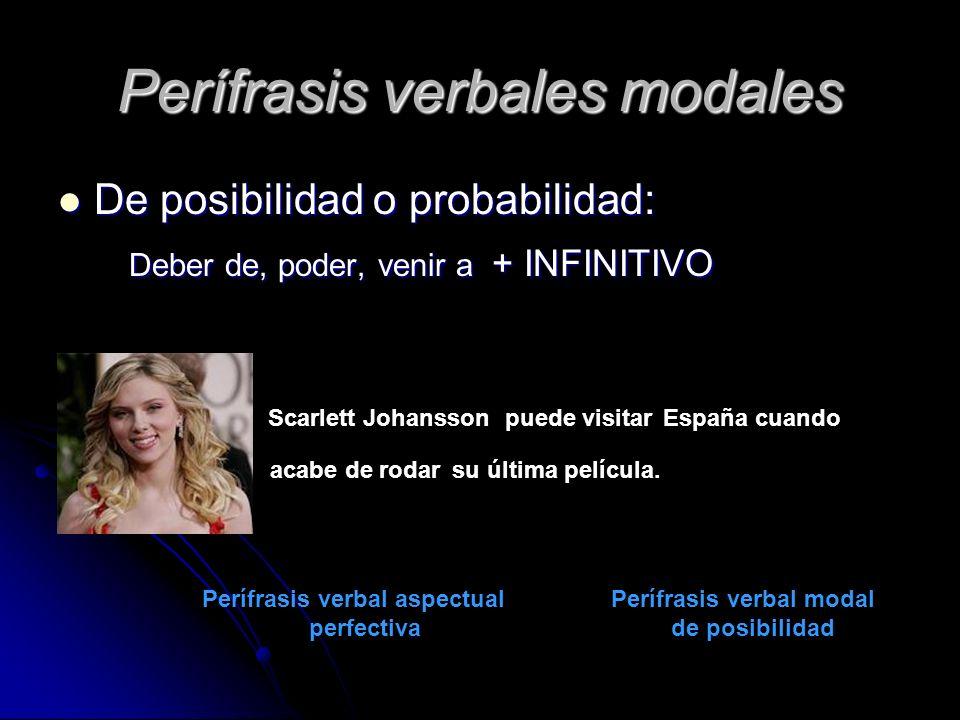 Perífrasis verbales modales De posibilidad o probabilidad: De posibilidad o probabilidad: Deber de, poder, venir a + INFINITIVO Deber de, poder, venir