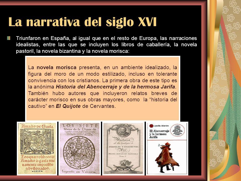La narrativa del siglo XVI Triunfaron en España, al igual que en el resto de Europa, las narraciones idealistas, entre las que se incluyen los libros