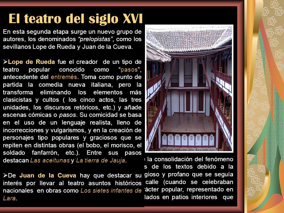 El teatro del siglo XVI En la primera mitad del siglo XVI una serie de dramaturgos cultivan el género: Juan del Encina, que a finales del siglo XV com
