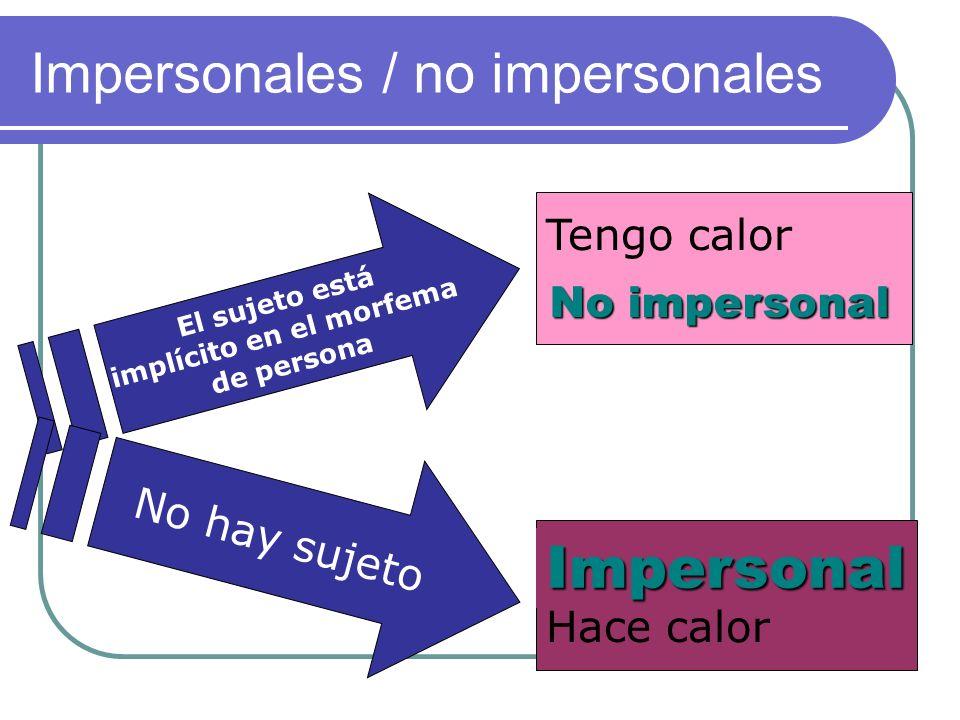 Impersonal No impersonal Impersonales / no impersonales Tengo calor Hace calor El sujeto está implícito en el morfema de persona No hay sujeto