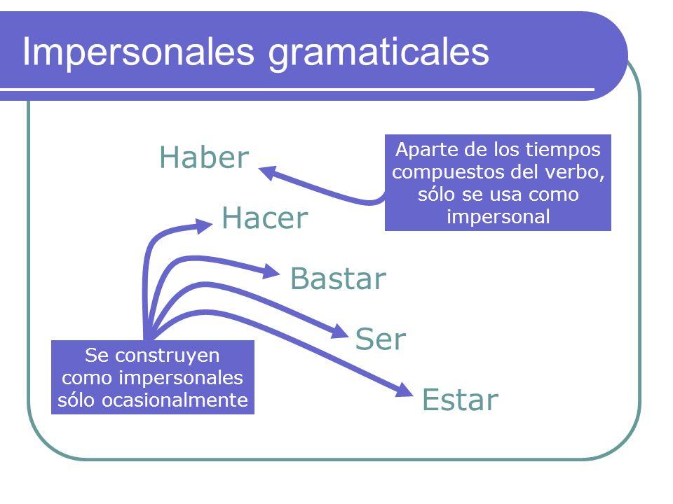 Impersonales gramaticales Haber Hacer Bastar Ser Estar Aparte de los tiempos compuestos del verbo, sólo se usa como impersonal Se construyen como impersonales sólo ocasionalmente