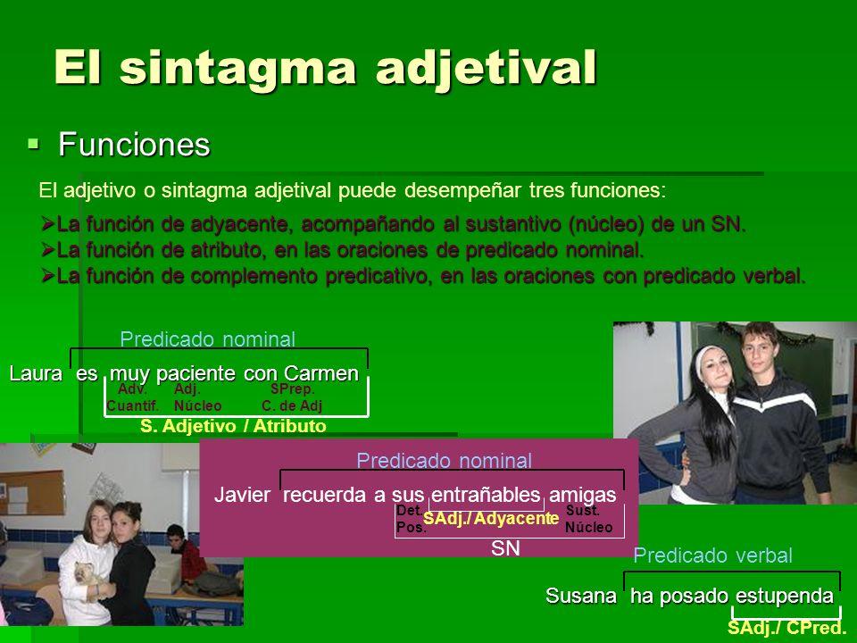 El sintagma adjetival Funciones Funciones El adjetivo o sintagma adjetival puede desempeñar tres funciones: La función de adyacente, acompañando al su