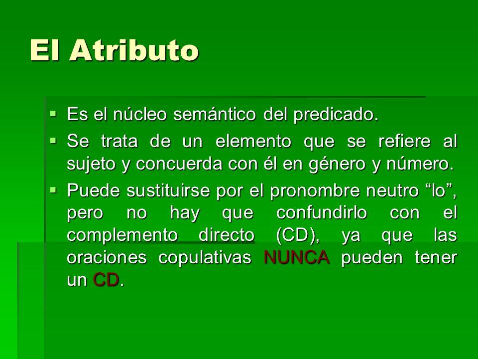 El Atributo Es el núcleo semántico del predicado. Es el núcleo semántico del predicado. Se trata de un elemento que se refiere al sujeto y concuerda c
