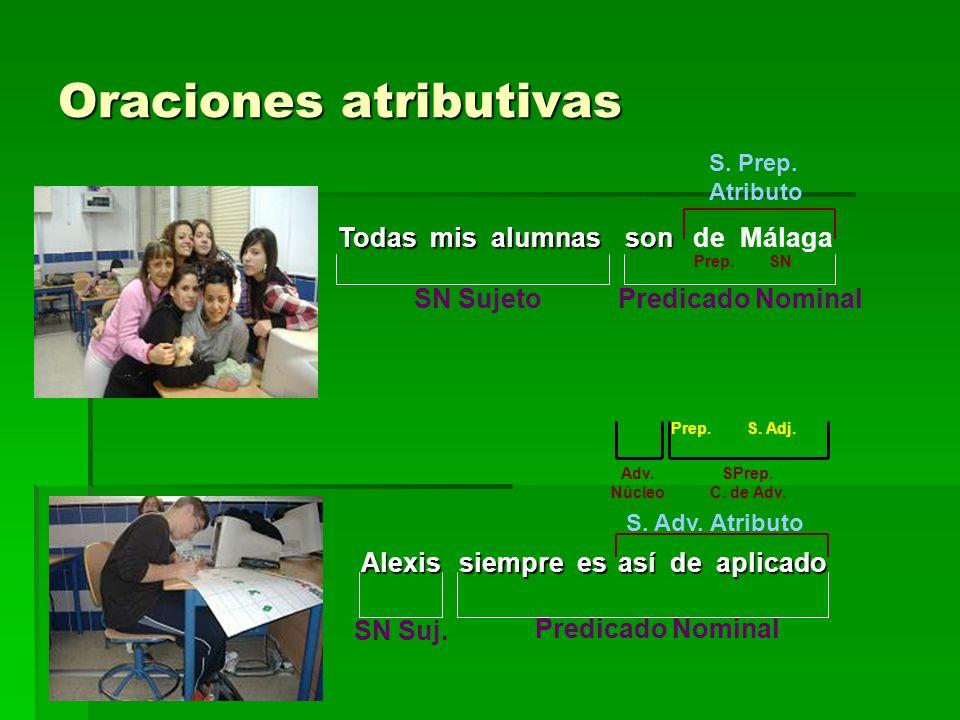 Oraciones atributivas Todas mis alumnas son son de Málaga SN Sujeto S. Prep. Atributo Prep.SN Predicado Nominal Alexis siempre es así de aplicado SN S
