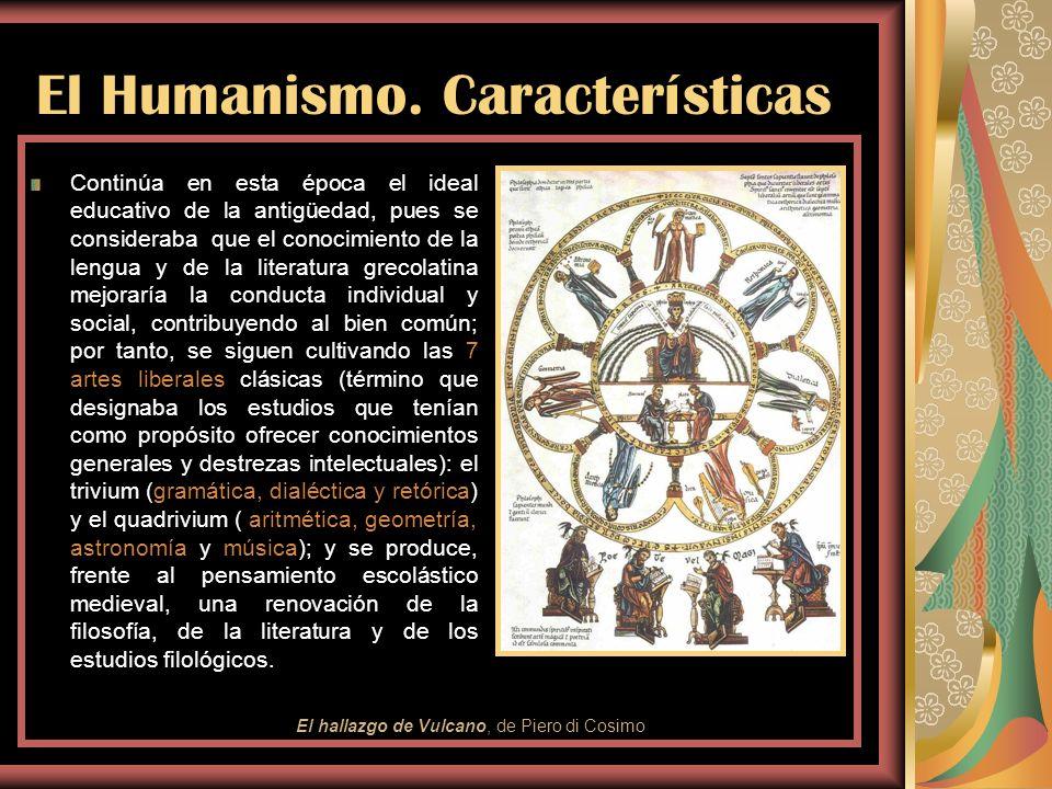 El Humanismo. Características Se imitan modelos de la Antigüedad clásica, lo cual justifica el recurso constante a la mitología y a los temas bucólico