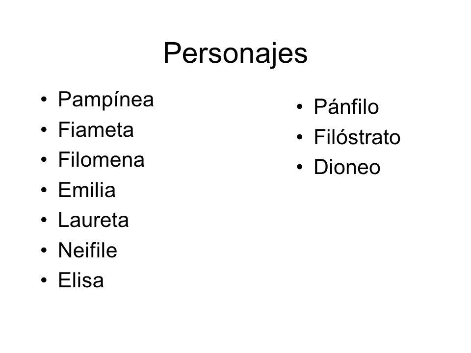 Personajes Pampínea Fiameta Filomena Emilia Laureta Neifile Elisa Pánfilo Filóstrato Dioneo