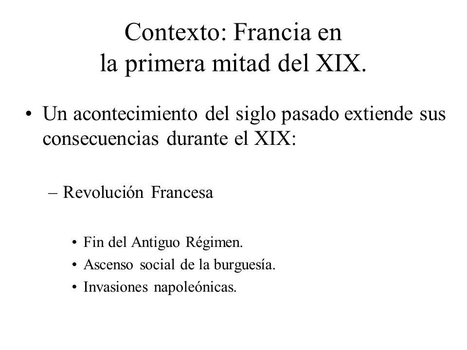 Contexto: Francia en la primera mitad del XIX. Un acontecimiento del siglo pasado extiende sus consecuencias durante el XIX: –Revolución Francesa Fin