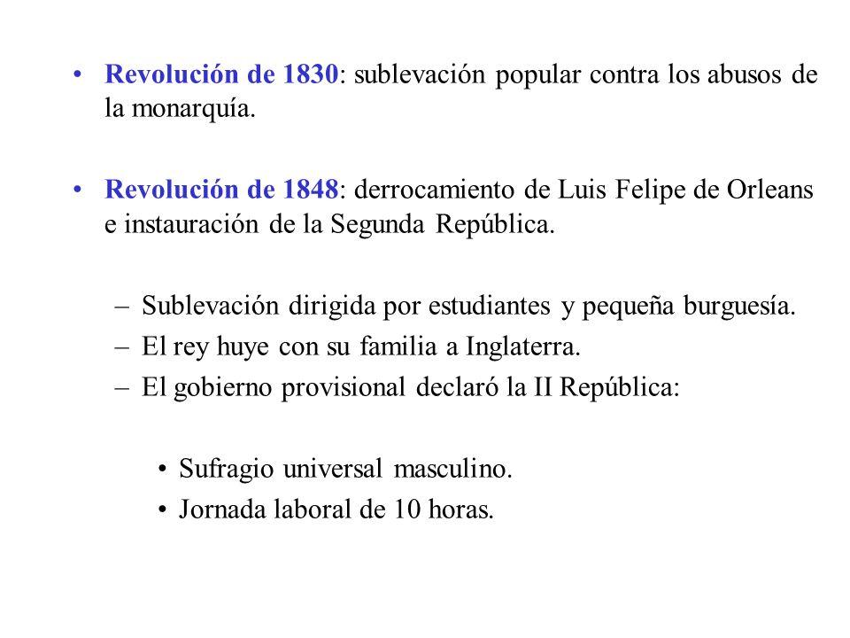 Revolución de 1830: sublevación popular contra los abusos de la monarquía. Revolución de 1848: derrocamiento de Luis Felipe de Orleans e instauración