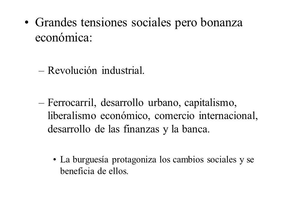 Grandes tensiones sociales pero bonanza económica: –Revolución industrial. –Ferrocarril, desarrollo urbano, capitalismo, liberalismo económico, comerc
