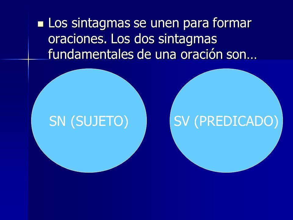Los sintagmas se unen para formar oraciones. Los dos sintagmas fundamentales de una oración son… Los sintagmas se unen para formar oraciones. Los dos