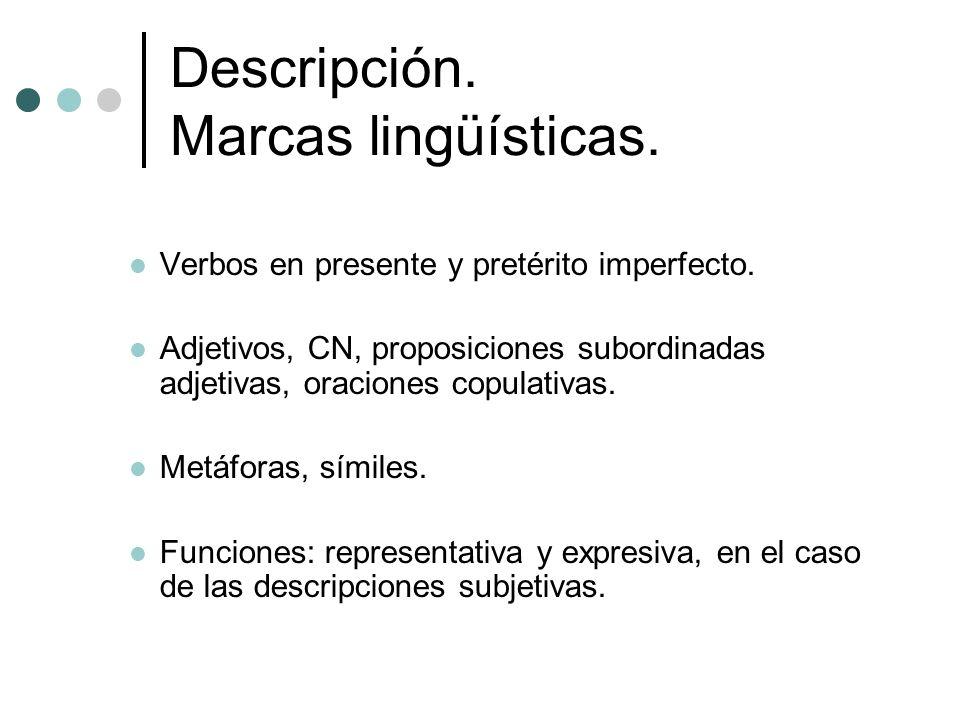 Descripción. Marcas lingüísticas. Verbos en presente y pretérito imperfecto. Adjetivos, CN, proposiciones subordinadas adjetivas, oraciones copulativa
