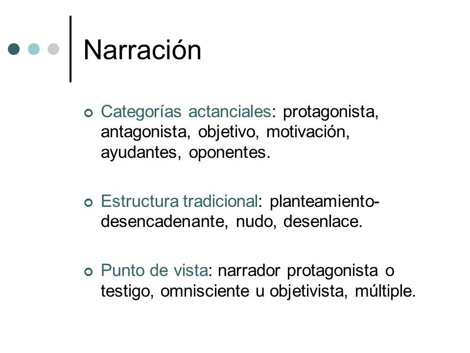 Narración Categorías actanciales: protagonista, antagonista, objetivo, motivación, ayudantes, oponentes. Estructura tradicional: planteamiento- desenc