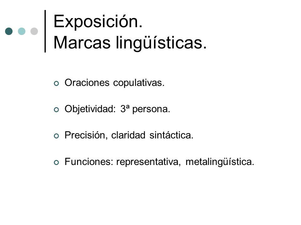 Exposición. Marcas lingüísticas. Oraciones copulativas. Objetividad: 3ª persona. Precisión, claridad sintáctica. Funciones: representativa, metalingüí
