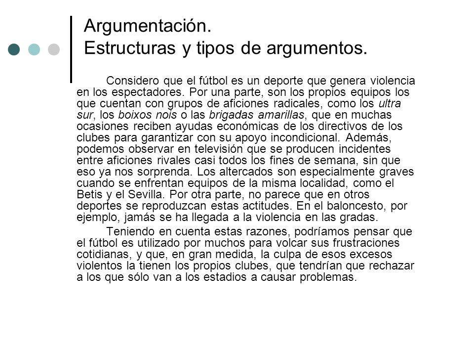 Argumentación. Estructuras y tipos de argumentos. Considero que el fútbol es un deporte que genera violencia en los espectadores. Por una parte, son l
