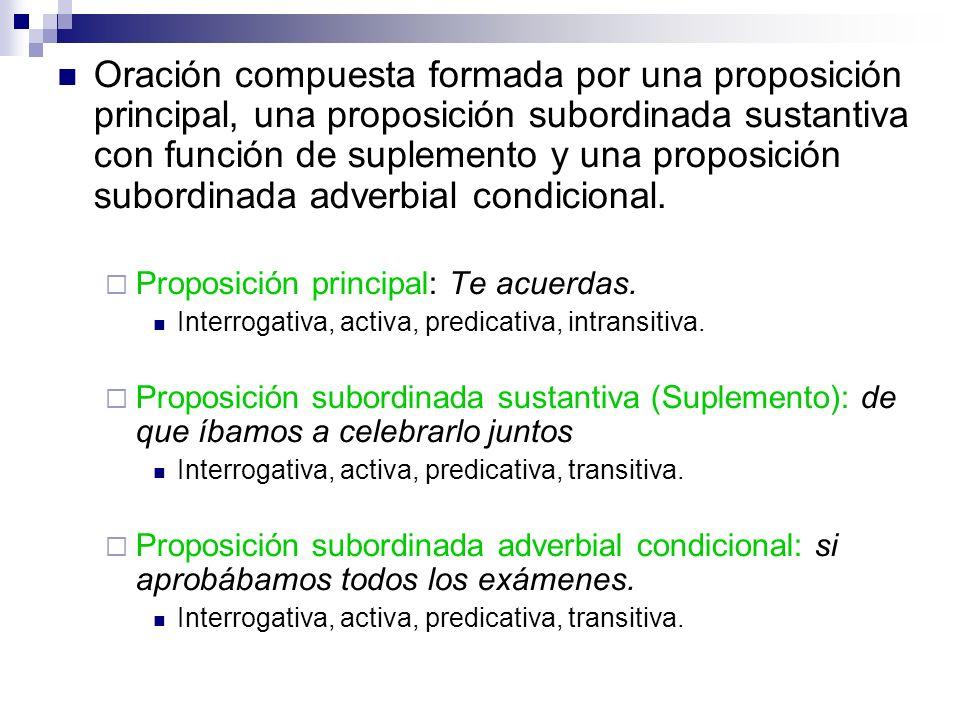 Oración compuesta formada por una proposición principal, una proposición subordinada sustantiva con función de suplemento y una proposición subordinad
