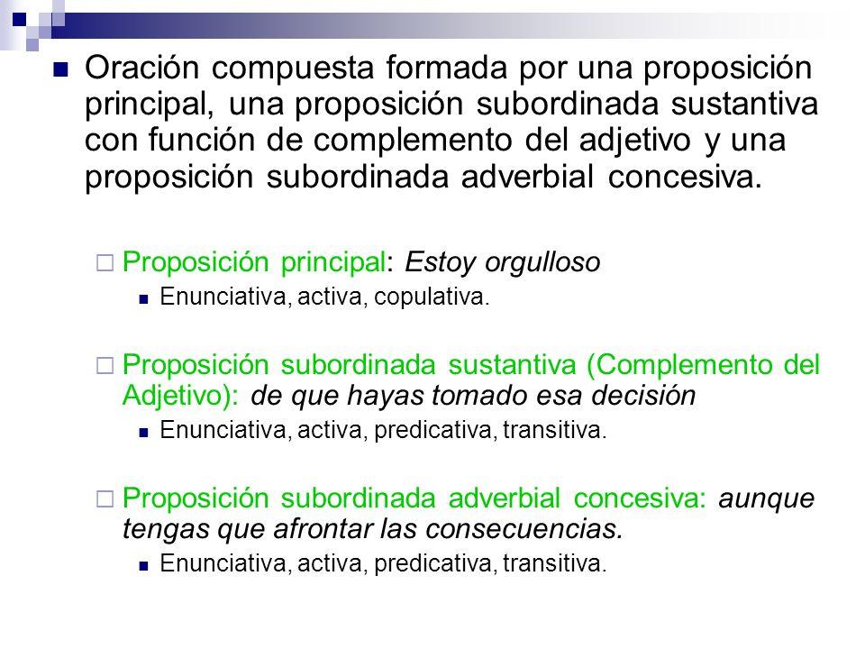 Oración compuesta formada por una proposición principal, una proposición subordinada sustantiva con función de complemento del adjetivo y una proposic
