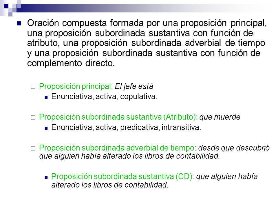 Oración compuesta formada por una proposición principal, una proposición subordinada sustantiva con función de atributo, una proposición subordinada a