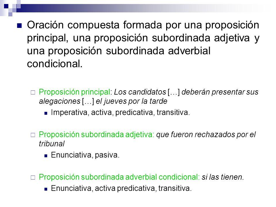 Oración compuesta formada por una proposición principal, una proposición subordinada adjetiva y una proposición subordinada adverbial condicional. Pro