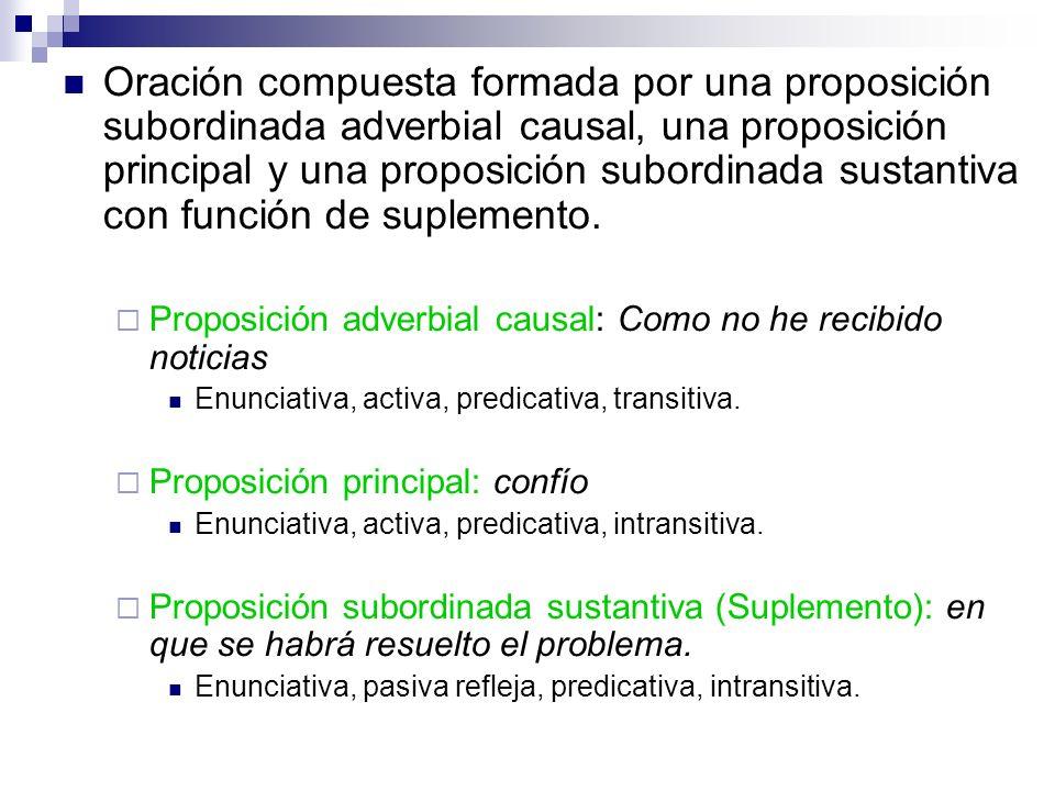 Oración compuesta formada por una proposición subordinada adverbial causal, una proposición principal y una proposición subordinada sustantiva con fun