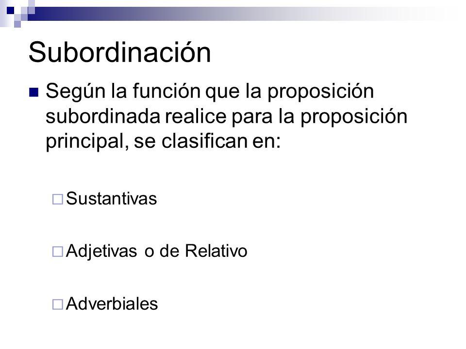 Subordinación Según la función que la proposición subordinada realice para la proposición principal, se clasifican en: Sustantivas Adjetivas o de Rela