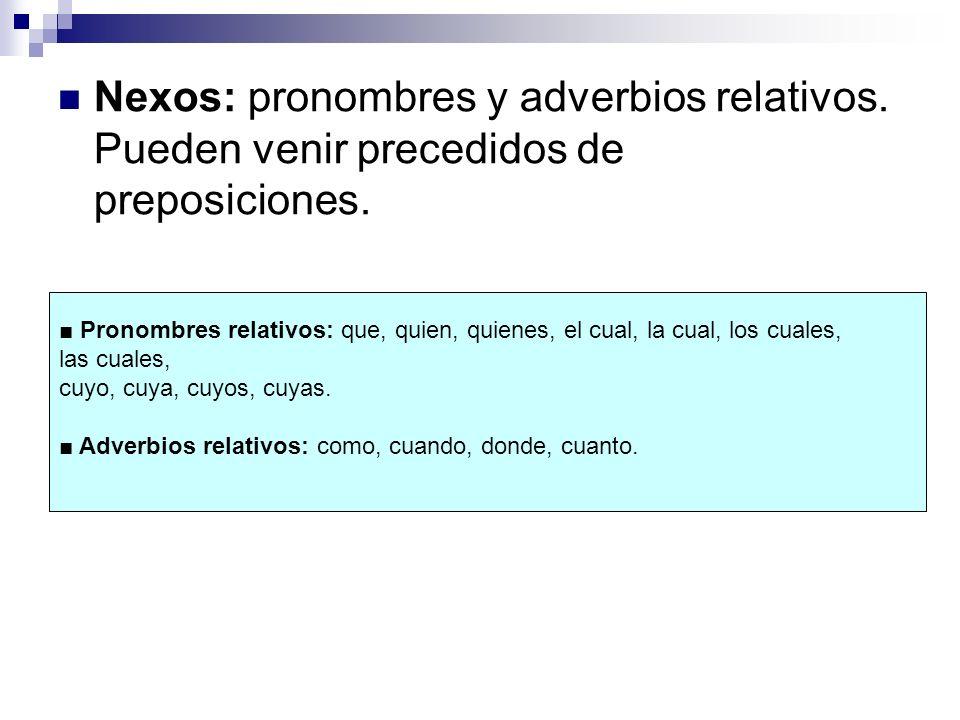 Nexos: pronombres y adverbios relativos. Pueden venir precedidos de preposiciones. Pronombres relativos: que, quien, quienes, el cual, la cual, los cu
