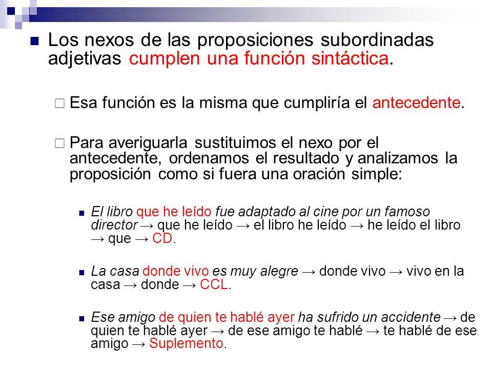 Los nexos de las proposiciones subordinadas adjetivas cumplen una función sintáctica. Esa función es la misma que cumpliría el antecedente. Para averi