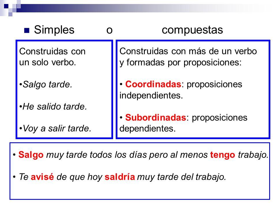 Oración compuesta formada por una proposición principal, una proposición subordinada sustantiva con función de atributo, una proposición subordinada adverbial de tiempo y una proposición subordinada sustantiva con función de complemento directo.