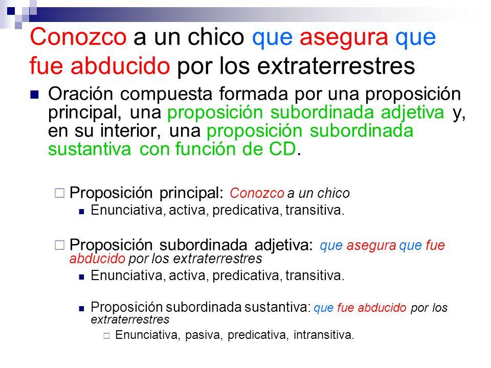 Oración compuesta formada por una proposición principal, una proposición subordinada adjetiva y, en su interior, una proposición subordinada sustantiv