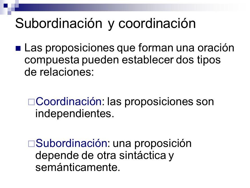 Las proposiciones que forman una oración compuesta pueden establecer dos tipos de relaciones: Coordinación: las proposiciones son independientes. Subo