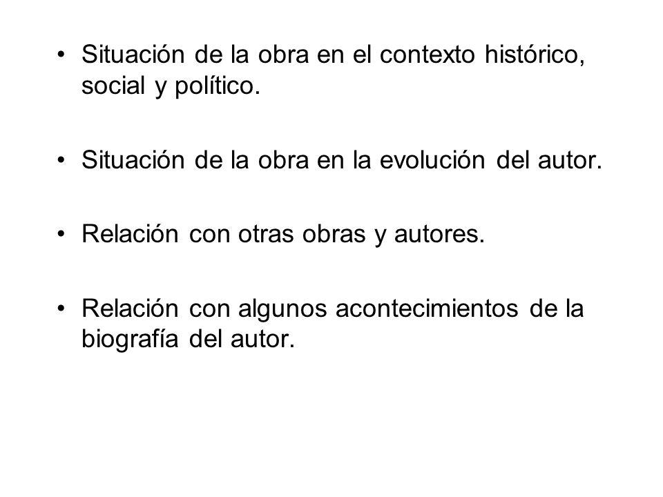 Situación de la obra en el contexto histórico, social y político. Situación de la obra en la evolución del autor. Relación con otras obras y autores.