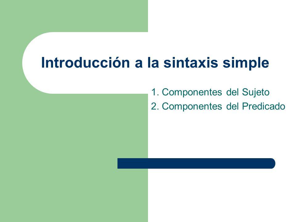 Introducción a la sintaxis simple 1. Componentes del Sujeto 2. Componentes del Predicado