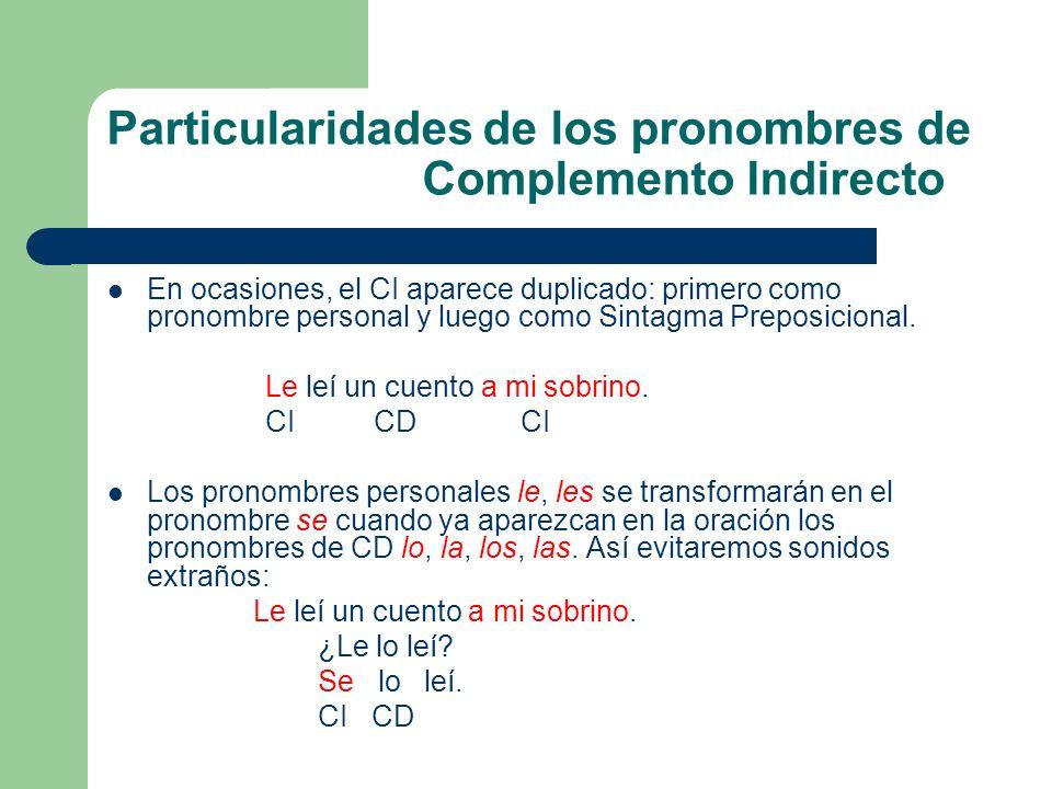 Particularidades de los pronombres de Complemento Indirecto En ocasiones, el CI aparece duplicado: primero como pronombre personal y luego como Sintag
