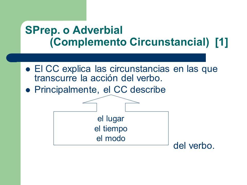 SPrep. o Adverbial (Complemento Circunstancial) [1] El CC explica las circunstancias en las que transcurre la acción del verbo. Principalmente, el CC