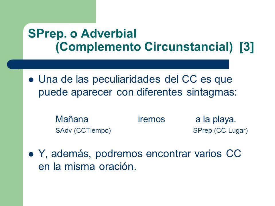 SPrep. o Adverbial (Complemento Circunstancial) [3] Una de las peculiaridades del CC es que puede aparecer con diferentes sintagmas: Mañana iremos a l