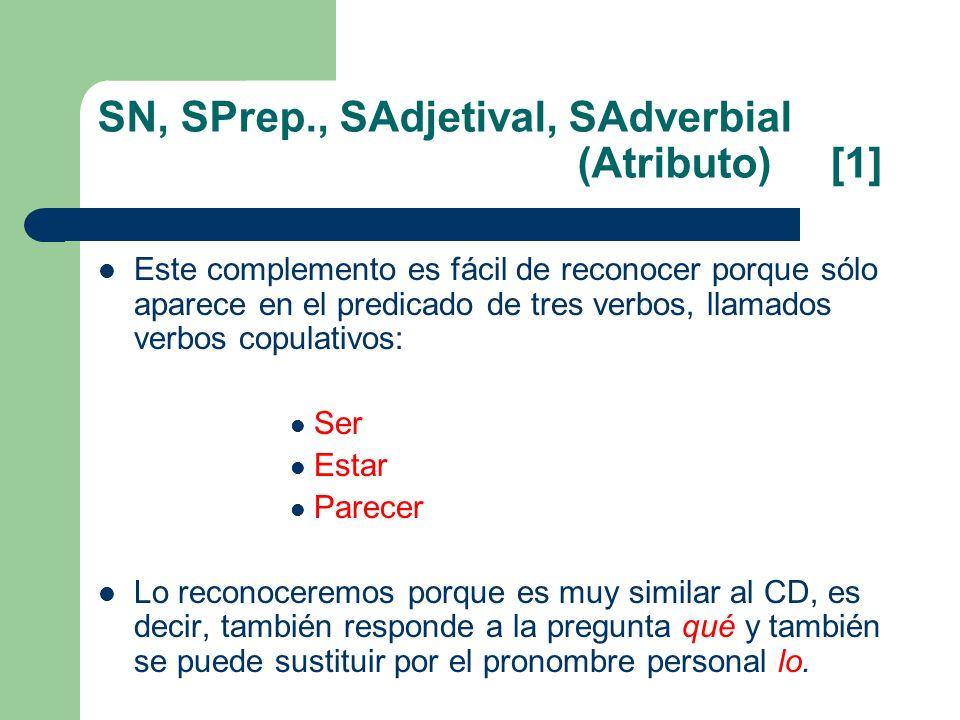SN, SPrep., SAdjetival, SAdverbial (Atributo) [1] Este complemento es fácil de reconocer porque sólo aparece en el predicado de tres verbos, llamados