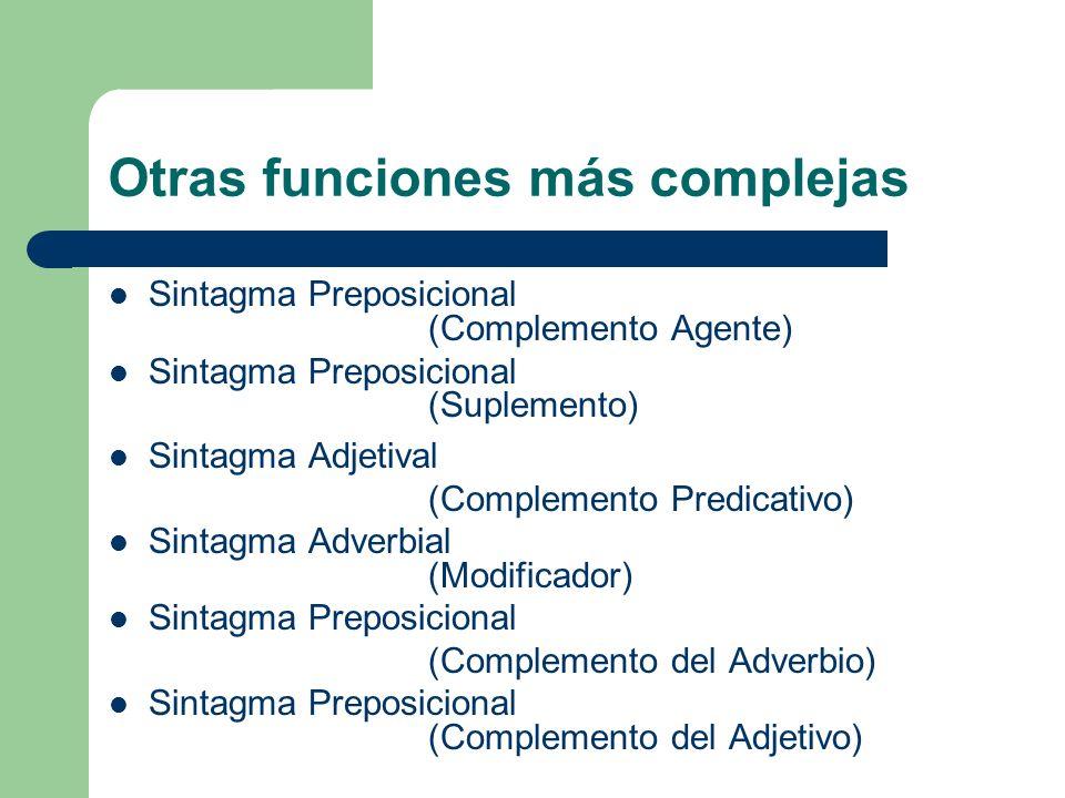 Otras funciones más complejas Sintagma Preposicional (Complemento Agente) Sintagma Preposicional (Suplemento) Sintagma Adjetival (Complemento Predicat